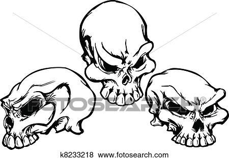 Line Drawing Vector Graphics : Clip art of skulls group with graphic vector im k8233218 search