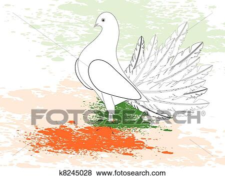 Clip art of a greeting card with draw a flag with paint piegon and a greeting card with draw a flag with paint piegon and copy space for republic and independence day m4hsunfo Images