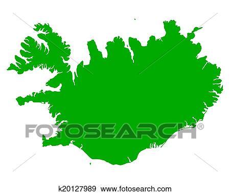 剪贴画 - 地图, 在中, 冰岛