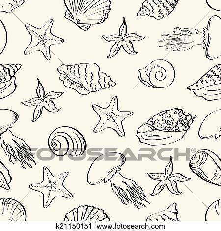 Clipart seamless modello animali marini contorni - Clip art animali marini ...