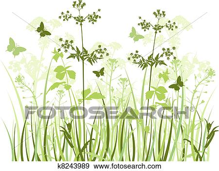 Clip Art of Meadow with wildflowers k8243989 - Search ...