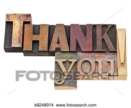 Stock photo of thank you in letterpress type k8248974 for Thank you mural