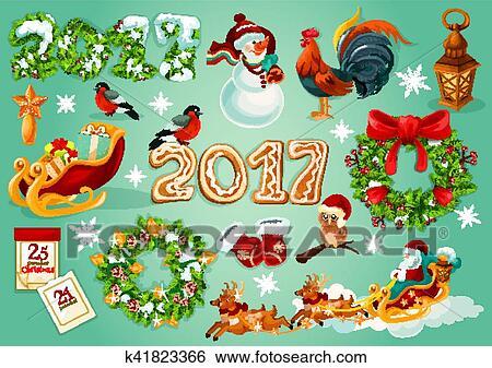 剪贴画 - 圣诞节和新年, 庆祝, 海报图片