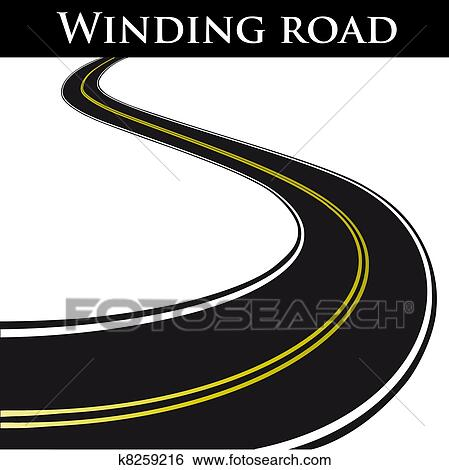 Clip Art of Vector winding road k8259216 - Search Clipart ...