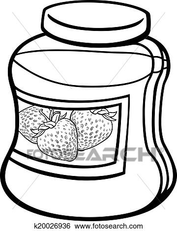 clip art of jam in jar cartoon coloring page k20026936 search rh fotosearch com coloring clip art for kids coloring clip art rainbow