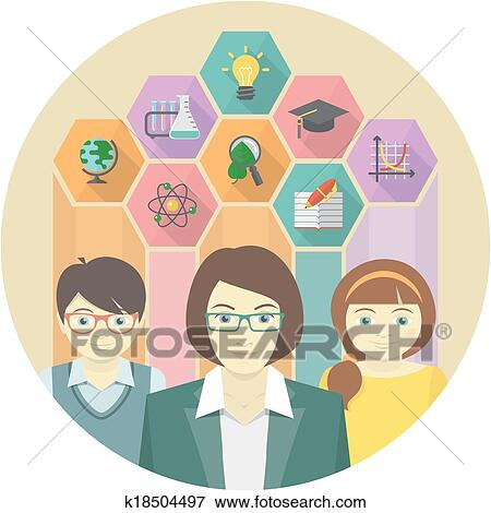 Clip Art of Teacher and Pupils Concept k18504497 - Search ...