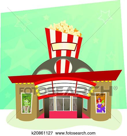 Clip Art of Movie Theater k20861127 - Search Clipart ...  Cinema Building Cartoon