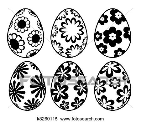 stock illustration sechs schwarz wei osterbilder tag eier mit blumen entw rfe. Black Bedroom Furniture Sets. Home Design Ideas