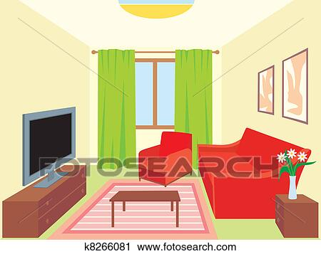 Clipart of living room k8266081 search clip art for Living room clipart