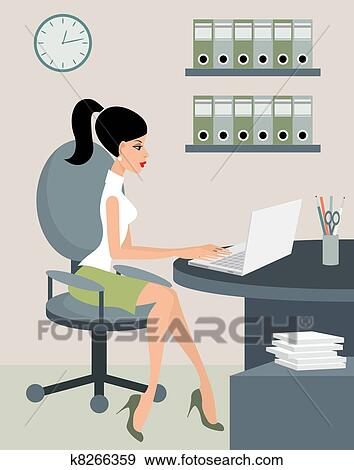 clipart secr taire bureau k8266359 recherchez des cliparts des illustrations des. Black Bedroom Furniture Sets. Home Design Ideas