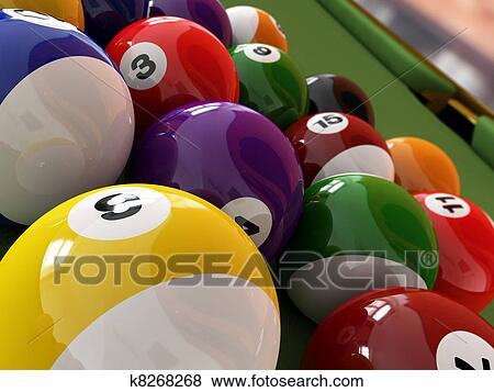 pool table balls clipart. stock illustration group of billiard balls with numbers on green pool table clipart