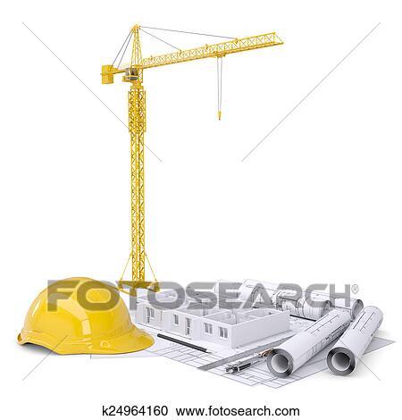 Stock Illustrations Of Apartment Block Under Construction Crane