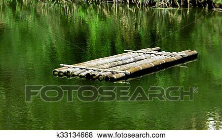 图片- 树木, 竹子, 在水上的船