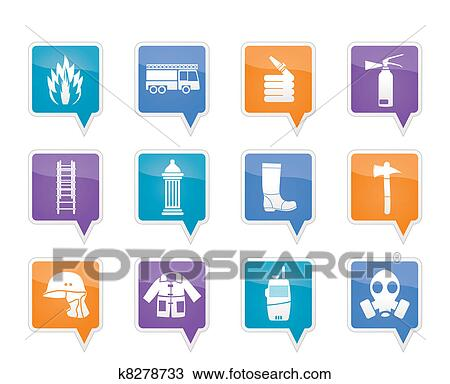 Clipart of fire-brigade and fireman equipment k8278733 - Search ...