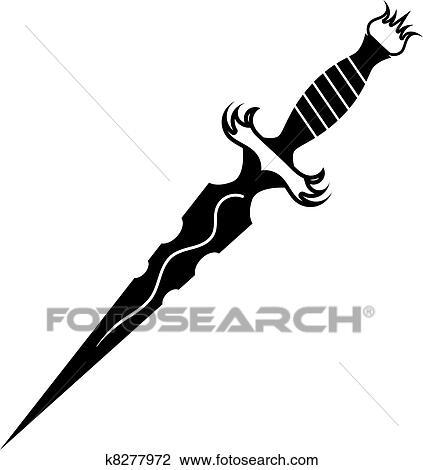 clipart of vector illustration of a dagger tattoo k8277972 rh fotosearch com digger clipart danger clip art free