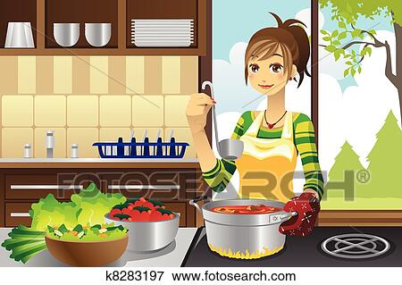 Clip Art of Housewife cooking k8283197 - Search Clipart ...