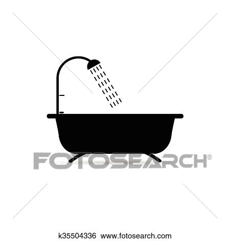 shower head clipart. Clip Art - Bathtub With Shower Head Illustration. Fotosearch Search Clipart, Illustration Posters Clipart