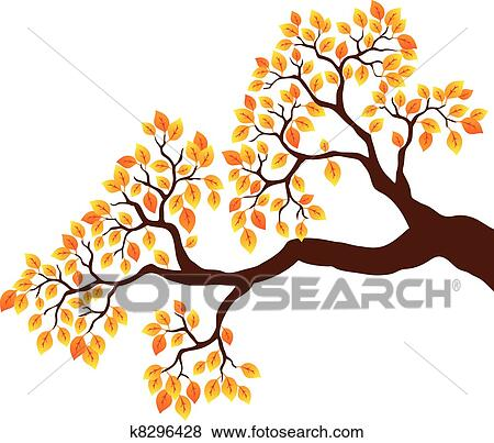 Clip Art of Tree branch with orange leaves 1 k8296428 ...