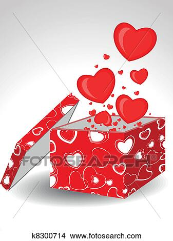 Clipart of heart shapes coming out form open gift box decorated clipart heart shapes coming out form open gift box decorated with abstract heart shape cover negle Gallery