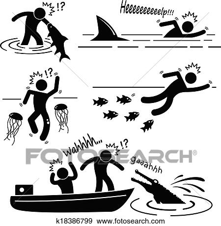 Clip Art of Sea River Animal Attacking Human k18386799 - Search Clipart, Illustration Posters ...