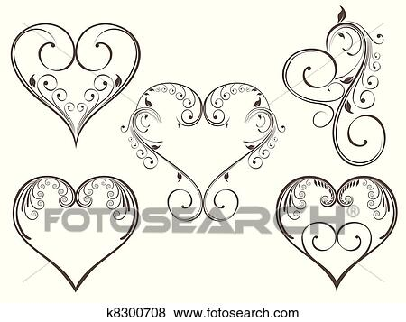 Decorated Heart Drawings Heart Shape Decorated With