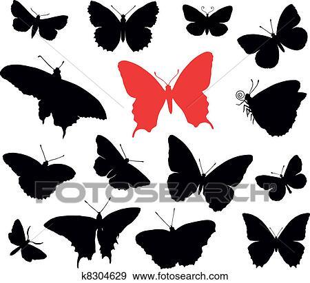 蝴蝶折纸剪贴画图片_绘画分享