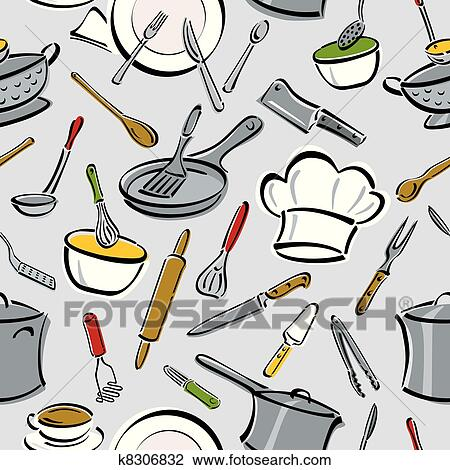 Kitchen Tools Drawings clipart of kitchen tools pattern k8306832 - search clip art