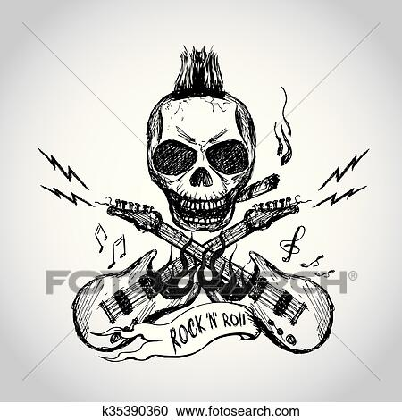 Clipart Of Rock And Roll Skull Guitar Hand Drawing K35390360