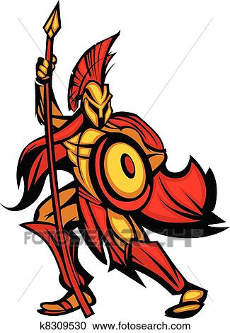 clipart of spartan trojan mascot with spear k8309530 search clip rh fotosearch com clipart spartan helmet black and white spartan clipart