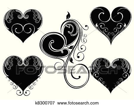 Clip Art Of Vector Illustration Vintage Design Heart Shape