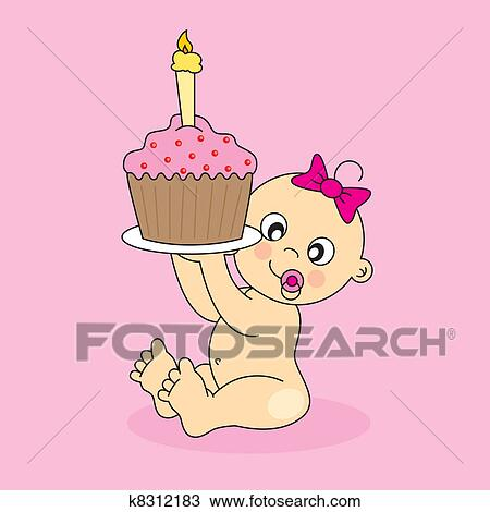 剪贴画 女婴, 带, a, 生日蛋糕