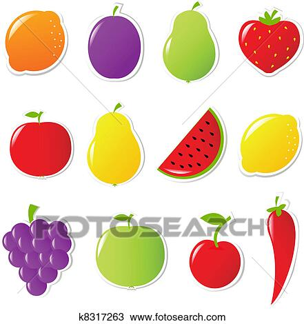 手绘图 水果和蔬菜