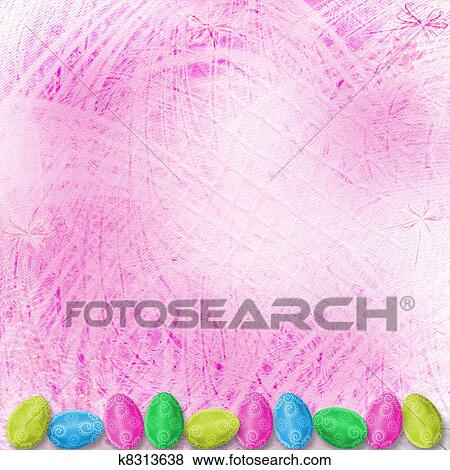 Stock Illustration Of Pastel Background With Colored Eggs To