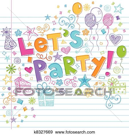 Clip Art of Birthday Party Time Sketchy Doodles k8327669 Search