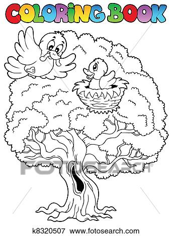 Clip Art of Coloring book big tree with birds k8320507 - Search ...
