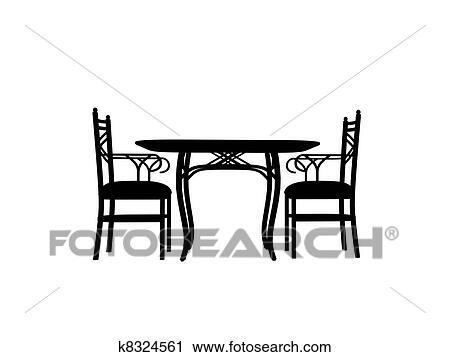 Stühle clipart  Clipart - stühle, tisch, silhouette, aufreißen k8324561 - Suche ...