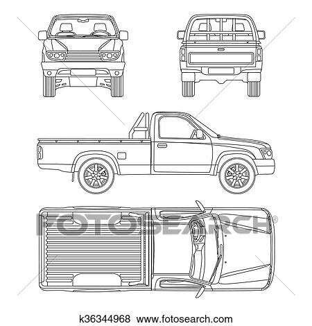 Clip art of car pickup truck one cab vector illustration k36344968 pickup truck vector illustration blueprint malvernweather Images