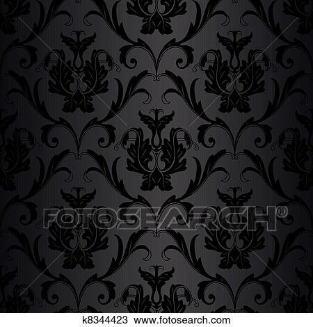 Clipart seamless schwarz mustertapete k8344423 suche for Suche tapeten muster
