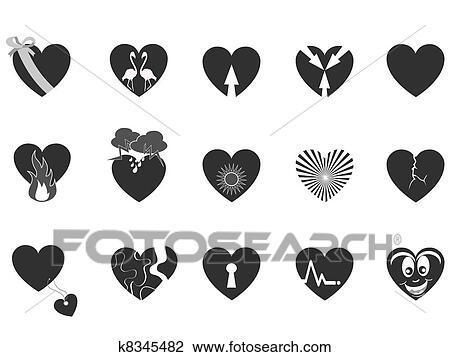 Clipart of black loving heart icon k8345482 - Search Clip Art ...