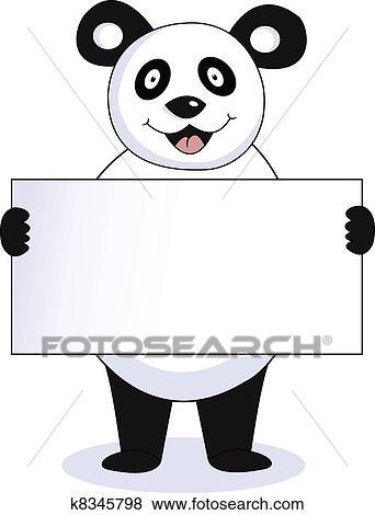 剪贴画 - 熊猫, 带, 空白征候