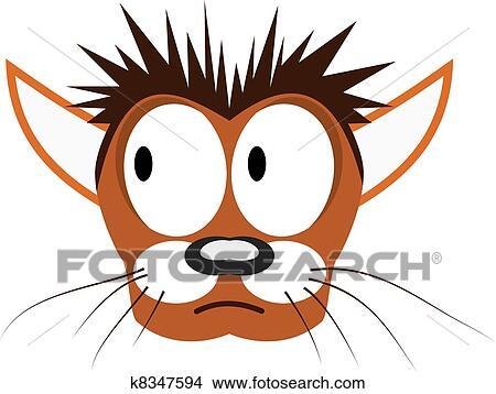 手绘图 - 矢量, 描述, 在中, 卡通漫画, 猫` s, 头.图片