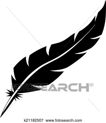 clip art of blank bird feather vector shape isolated on white rh fotosearch com Black and White Bird Feathers Birds of a Feather Tattoo