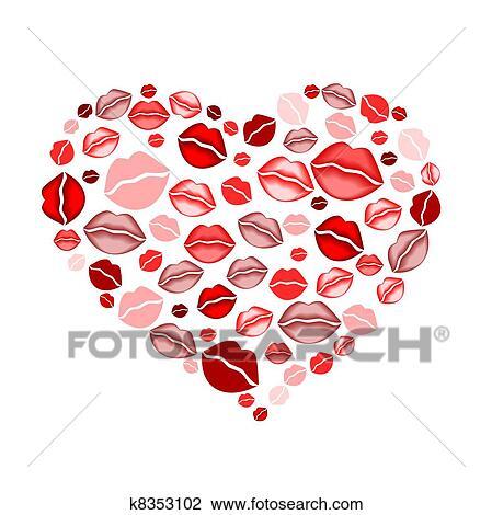 Clipart cuore di baci k8353102 cerca clipart - Bisous dessin ...