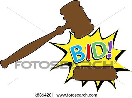 Clipart of Bid to buy auction gavel cartoon icon k8354281 - Search ...