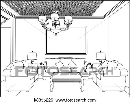 Clip Art Of Living Room K8355226