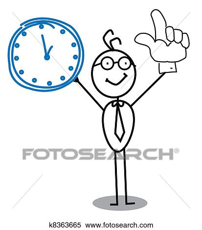 clipart of clock businessman k8363665 search clip art rh fotosearch com businessman clipart vector businessman clipart free