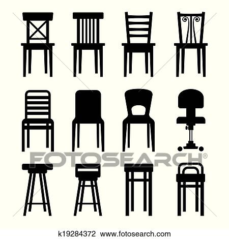 Stühle clipart  Clipart - alt, modernes, büro, und, bar, stühle, Set., vektor ...