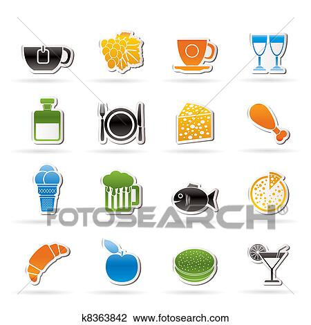 Clipart of Food, Drink and beverage icons k8363842 ...  Clipart of Food...