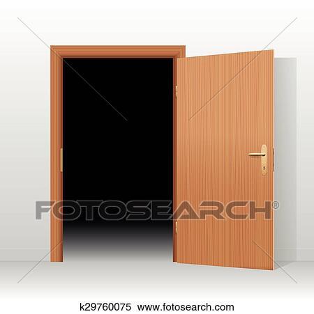 open doors clipart. Clipart - Wide Open Door Dark Room. Fotosearch Search Clip Art, Illustration Murals Doors