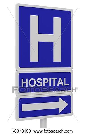 Banque d'Illustrations - hôpital, panneaux signalisations. Fotosearch - Recherche de Cliparts Vecteurisés , de Dessins, d'Illustrations et d'Images au Format EPS